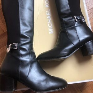 Michael Kors Knee high black leather boots